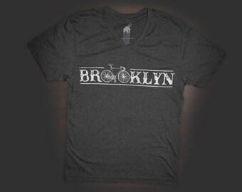 T Shirt Urban V Neck Brooklyn Bike Design in Black