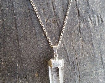 RAW QUARTZ CRYSTAL Necklace, Rock Jewelry, Geo, Crystal Necklace