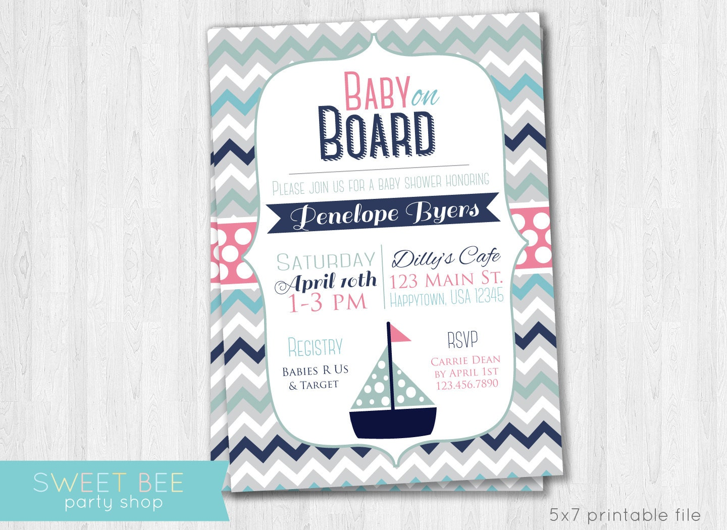 girl nautical baby shower invitation baby on board chevron