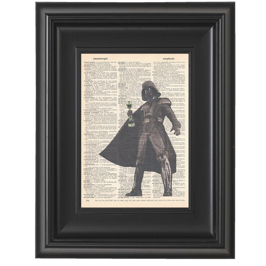 Poster Weights Etsy: Darth Vader With Shake Weight Whimsical Dictionary Art Print