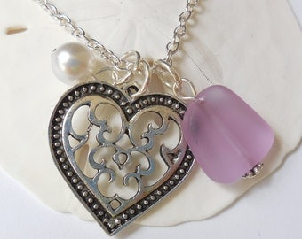 Light Purple Sea Glass Necklace, Beach Glass Necklace, Sea Glass Jewelry, Beach Glass Jewelery, Heart Charm Necklace, Free Shipping in US.
