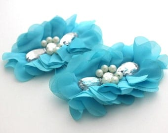 2 Extra Large Tear Jeweled Pearl Flowers--Turquoise