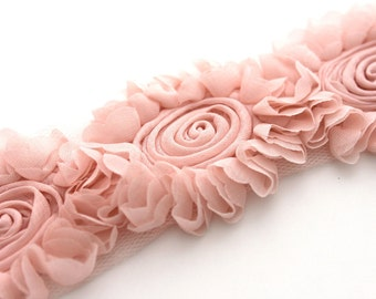 Shabby Rose Flower Trim--Orchid Pink Sunflower