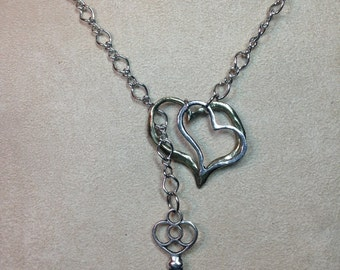 Two Hearts and Locking Key Lariat Silver Chain Necklace
