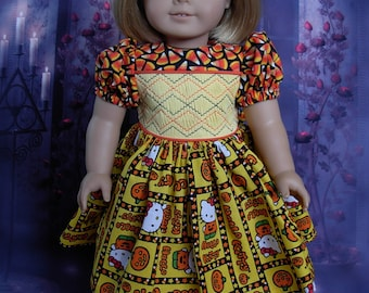 Smocked Halloween dress fits American Girl Doll and 18 inch dolls
