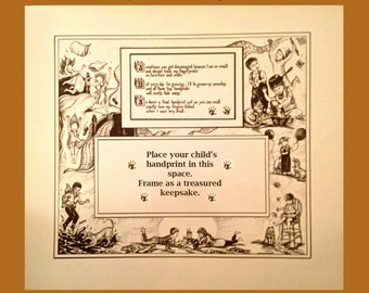Original Heirloom Art Print~ Children's Traditional Handprint Poem Illustrated by Suzanne Davis Harden