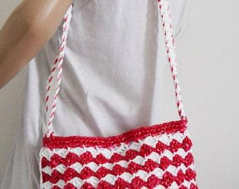 Red white purse,bag,Nylon Weaved ,Purse ,Pink,Red,White, Shoulder Bag