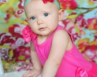 Hot Pink Baby Headband, Hot Pink Headband, Flower Headband, Aqua Headband, Hot Pink Flower Girl Headband, Birthday Headband,Newborn Headband