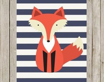 8x10 Fox Art Printable, Woodland Nursery Print, Navy Blue Stripes, Fox Nursery Poster, Home Decor, Nursery Art Instant Digital Download