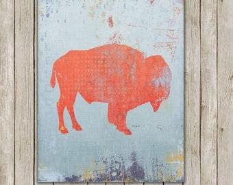 8x10 Buffalo Modern Art Print, Bison Printable Art, Grunge Wild Game Print, Poster, Nursery Wall Art, Home Decor, Instant Digital Download