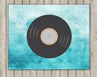 8x10 Retro Record Print, Record Printable, Music Wall Art, Music Print, Old School, Home Decor, Record Poster, Instant Digital Download