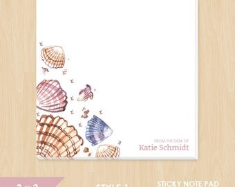 Personalized Sticky Note // Watercolor Seashells with Name
