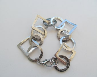 Silver bracelet, geometric bracelet, circles and squares bracelet, hand made