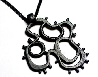 Sci Fi Microbe Pendant - Black Steel - Metal 3d Printed Jewelry