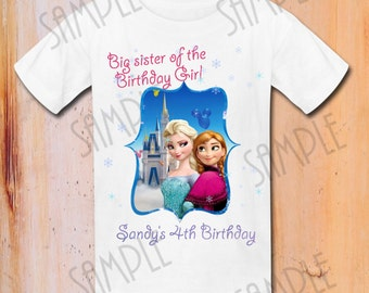 t-shirt Disney FROZEN Iron On Transfer Printable Sister of the Birthday Girl Elsa digital download Personalized Frozen Birthday Party
