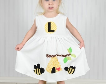 Personalized Bumble Bee Dress-Bumble Bee Applique-You choose color