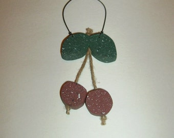 A Pair of Cheery Cherries Rustic Primitive Country Wall Hanging