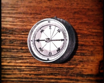 Use The Magnetic Force Field 'IRON'ic Anti-Compass Compass - Wearable White Compass Illustration Brooch