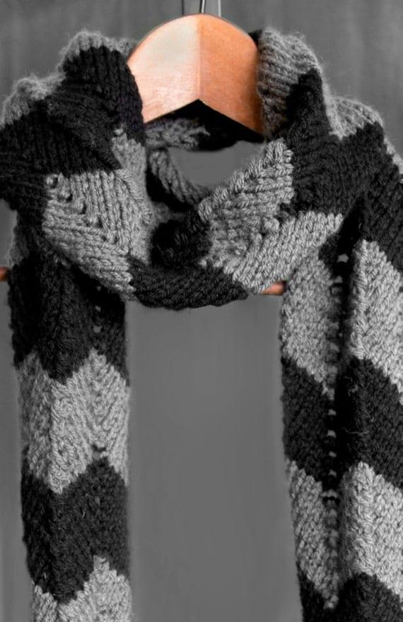Chevron Zig Zag Knitting Pattern : Chevron zig zag design handmade knit scarf by knitsbyveronica