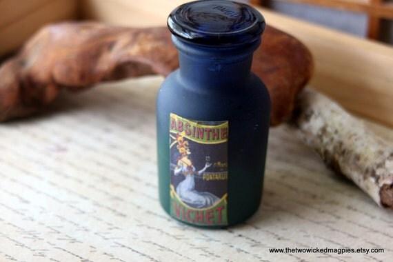Halloween vintage ombre absinthe altered bottle edwardian for Halloween medicine bottles