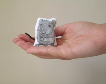 animal brooch mouse brooch mouse pin soft sculpture textile art realistic mouse black white gift idea