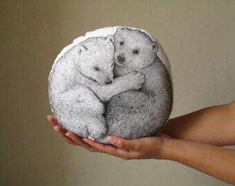 throw pillow decorative pillow bear bears shaped cushion hand painted black bear woodland pillow gift idea
