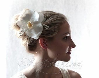 Crystal White Comb, Silver Wedding Hair Comb. White Orchid Bridal Comb by Ruby Blooms