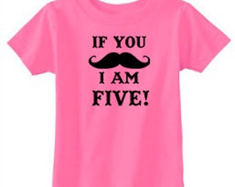 Number Shirt | Mustache Birthday Shirt | Birthday Number Shirt | Birthday Party Shirt | 5th Birthday Shirt | Personalized Birthday Shirt
