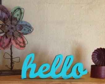 "Wooden ""hello"" sign"