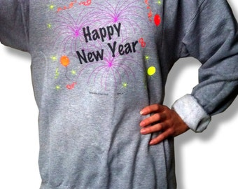 New Year's Eve Happy New Year Sweatshirt - Tacky Holiday Sweater