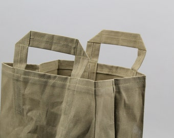 The Market Bag // Moss Green WAXED Canvas Reusable Shopping Bag with handles, eco-friendly and stylish