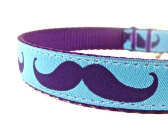 Purple Mustache dog collar/ Adjustable dog collar