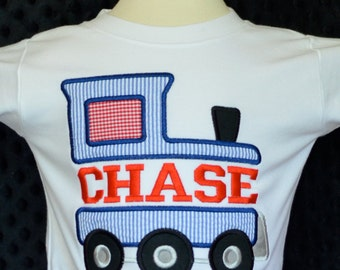 Personalized Train Applique Shirt or Onesie Boy or Girl