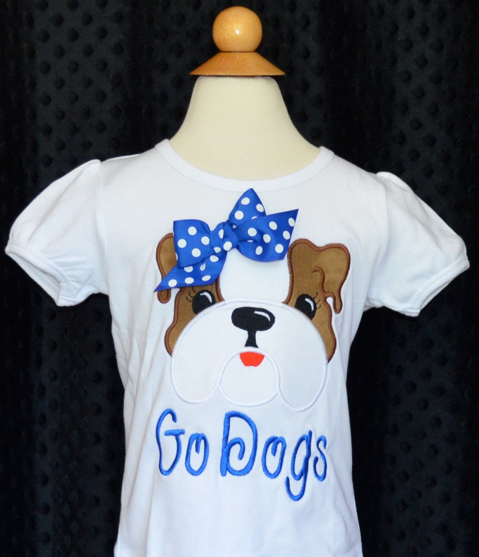 Personalized football bulldog dog face applique shirt or for Custom dog face t shirt