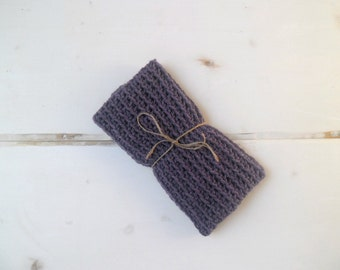 Crochet cowl purple wool scarf autumn winter accessories