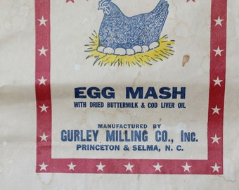 G. M. C. Special Egg Mash Paper Sack for Chicken Feed Vintage Ephemera
