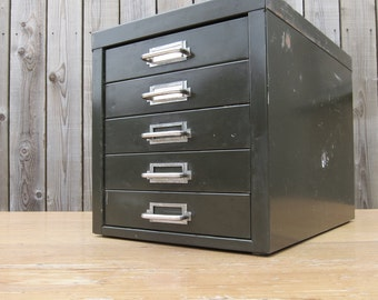 Green Metal 1950s Mid Century Industrial STOR Office Desk Table Filing Cabinet - Original Condition