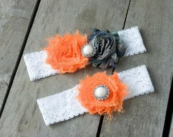 Camouflage Wedding Garter,  Orange Wedding Garter, Wedding Garter Set,  Bridal Garter, Camo Garter, Shabby Chic