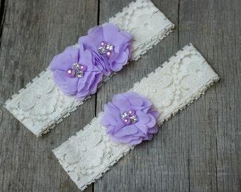 Lavender Wedding Garter, Shabby Chic Garter