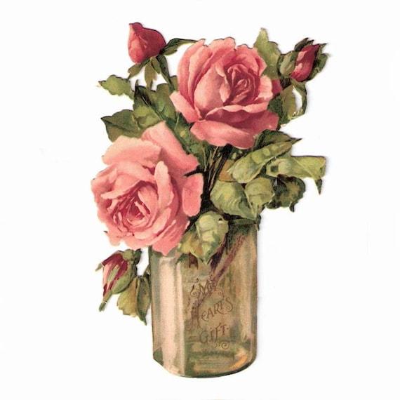 Raphael Tuck Edwardian Schrott-Vase mit Rosen Die Cut Card mein Herz-Geschenk