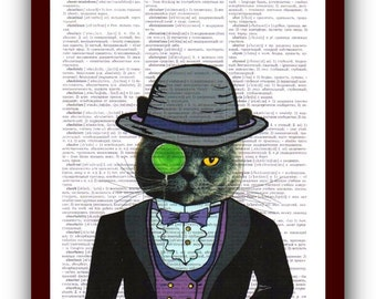 Cat Glasses  Art Print: gentleman Cat Print Cat Poster Art Print Book Page Art  Nerdy Poster
