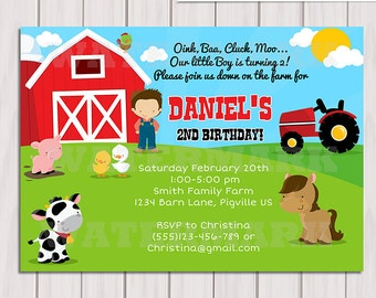 Farm Invitation / Barn Animals / Pig, Chicken, Sheep and Cow Personalized Birthday Party Invite / Digital Printable