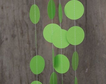 Paper garland bunting, wedding garland decor, circle garland, party home decor, nursery banner, nursery garland, photo backdrops green