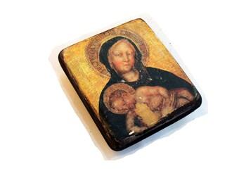13x11cm wooden icon of Theotokos, Mother of God, Virgin, Our Lady, Madonna with Child, Ikona Bozej Materi,  Eleusa.