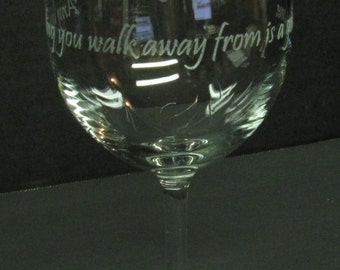 Pilot's Etched Wine Glass: Any landing you walk away from is a good one