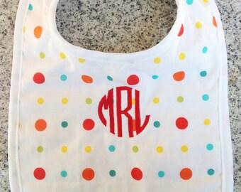 Monogrammed Bib in Confetti Print / Personalized Baby Gift / Monogram Baby Gift