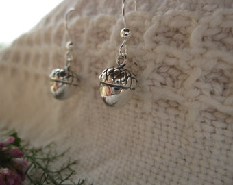 Acorn Earrings: sterling silver acorn charms on fish hook wires