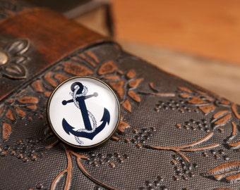 Lapel pin - Anchor lapel pin, anchor pin, anchor brooch, glass dome lapel pin, antique brass lapel pin, anchor lapel pin, nautical lapel pin
