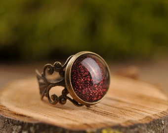 Filigree dark red ring, adjustable ring, statement ring, antique brass ring, glass dome ring, antique bronze ring, jewelry gift for her
