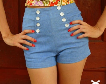 Aero Blue Sailor Shorts \\ High Waisted Denim Shorts